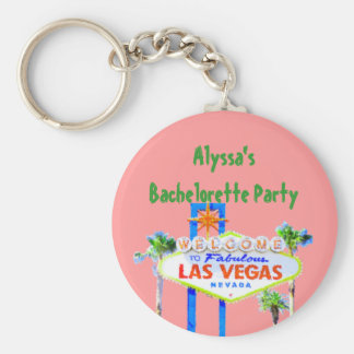 Pink Bachelorette Party in Las Vegas Basic Round Button Keychain