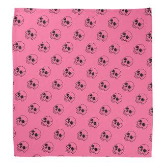 Pink Background Black Skulls Biker Bandanna