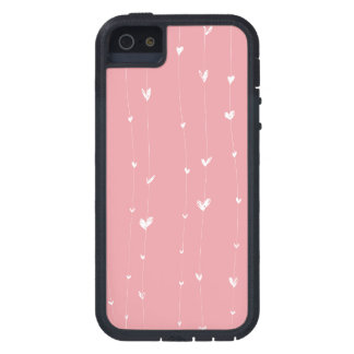 Pink-background-with-white-hearts-lines iPhone 5 Cases