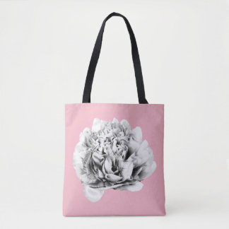 pink bag with black and white flower