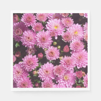 Pink Ball Chrysanthemum Paper Napkins