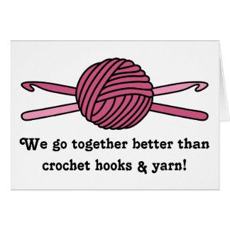 Pink Ball of Yarn & Crochet Hooks Card