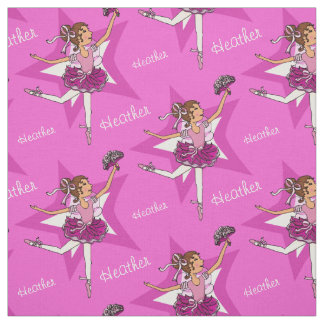 Pink ballerina dark hair girl custom ballet fabric