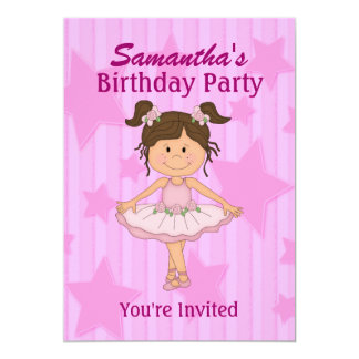 Pink Ballerina Stars and Stripes Birthday Party Card