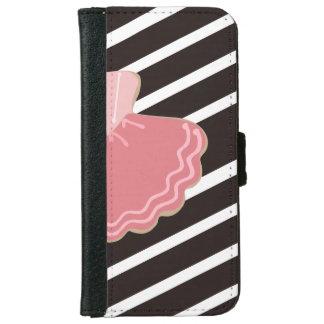Pink Ballet Dress, Black White Stripes monogram iPhone 6 Wallet Case