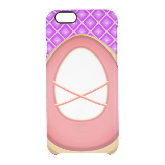 Pink Ballet Pointe Shoes, Purple Square pattern Clear iPhone 6/6S Case