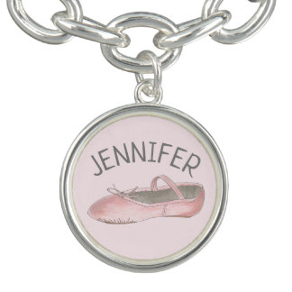 Pink Ballet Slipper Personalized Dance Teacher Charm Bracelet