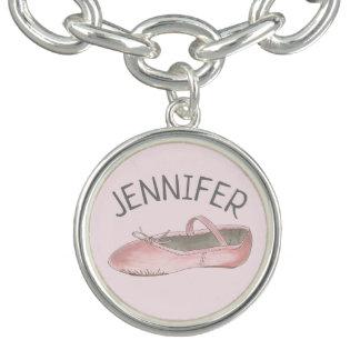 Pink Ballet Slipper Personalized Dance Teacher Charm Bracelet