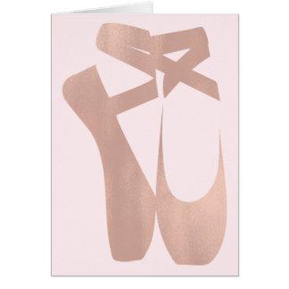 Pink Ballet Slippers Ballerina Rose Thank You Card