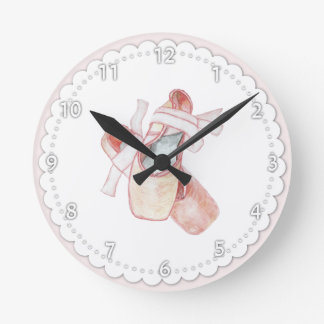 Pink Ballet Toe Shoes Round Clock