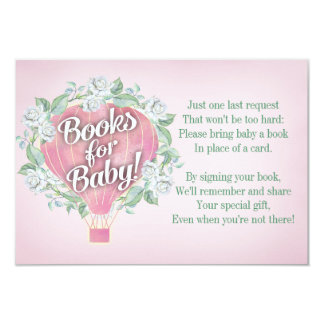 Pink Balloon Baby Shower Book Card Bring A Book