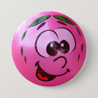 Pink balloon face 3 inch round button