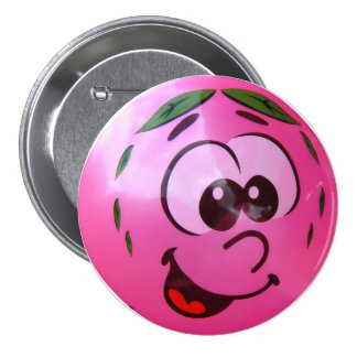 Pink balloon face 3 inch round button
