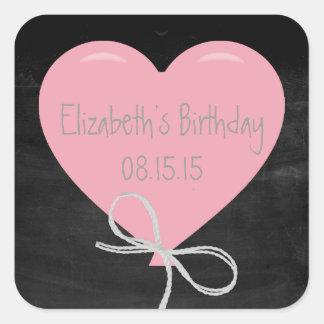 Pink Balloon on a Chalkboard Birthday Square Sticker