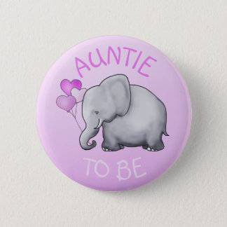 Pink Balloons Elephant Baby Shower Auntie-to-Be 2 Inch Round Button