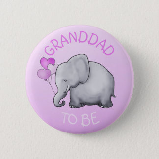 Pink Balloons Elephant Baby Shower Granddad-To-Be 2 Inch Round Button