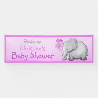 Pink Balloons Elephant Girl Baby Shower Banner