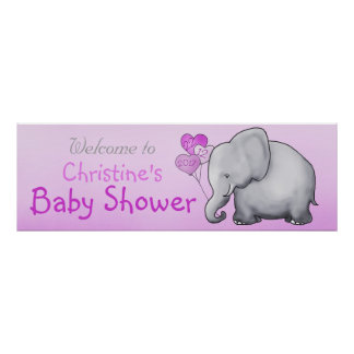 Pink Balloons Elephant Girl Baby Shower Poster