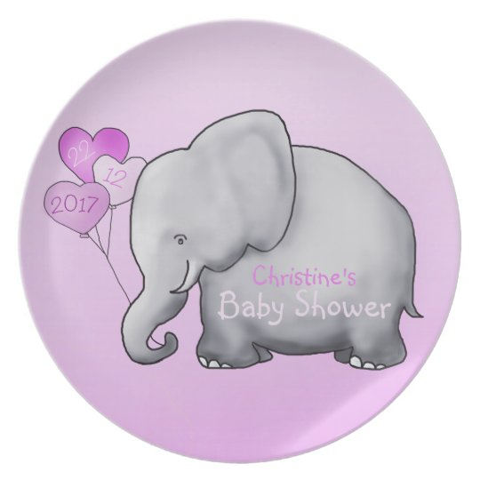 Pink Balloons Elephant Girl Baby Shower Serving Plate