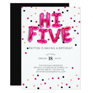Girls 5th Birthday Invitations Announcements