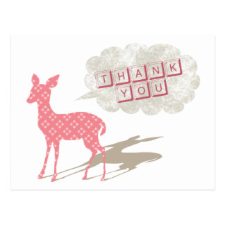 Pink Bambi Thank You Postcard