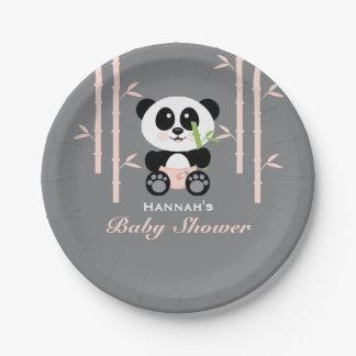 Pink Bamboo Panda Baby Shower 7 Inch Paper Plate