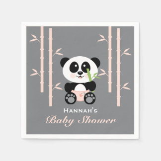 Pink Bamboo Panda in Diapers Baby Shower Napkins