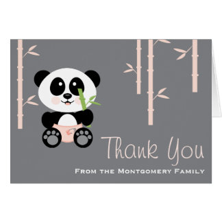 Pink Bamboo Panda in Diapers Baby Shower Thank You Card