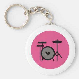 pink band (drum) basic round button keychain