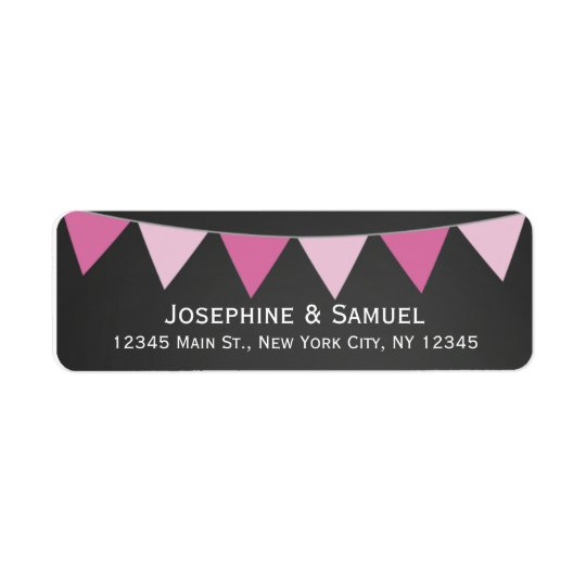 Pink Banner Chalkboard Wedding Address