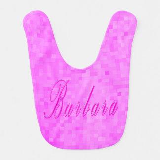 Pink Barbara Name Logo Baby Girls Pink Bib. Bib