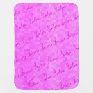 Pink Barbara Name Logo Baby Girls Pink Mosaic Baby Blanket