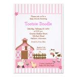 "Pink Barn Animal Farm yard Baby Shower Invites 5"" X 7"" Invitation Card"