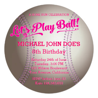 Pink Baseball Birthday Party Invitation Personalized Announcement