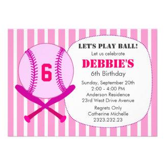 Pink Baseball Kid's Birthday Party for Girls Custom Announcement