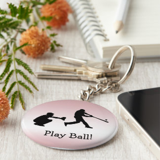 Pink Baseball Sports Keychain