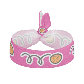 Pink basketball hair ties for girls team