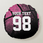 Pink basketball throw pillow with jersey number