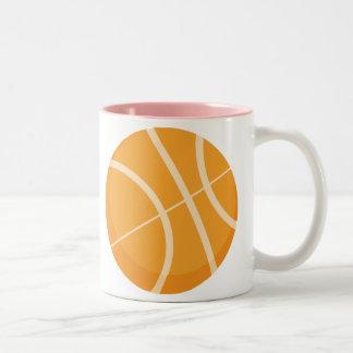 Pink Basketball Two-Tone Coffee Mug