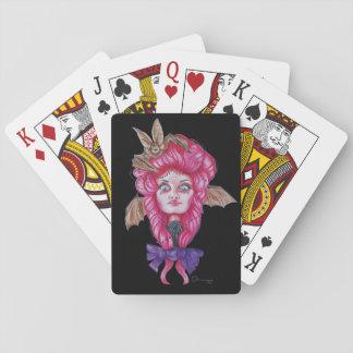 Pink Bat Girl Playing Cards