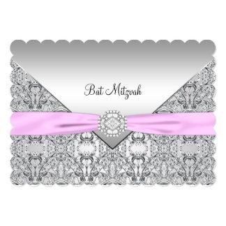 """Pink Bat Mitzvah 5"""" X 7"""" Invitation Card"""