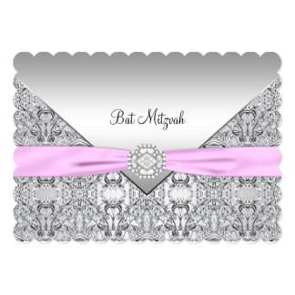 Pink Bat Mitzvah Card