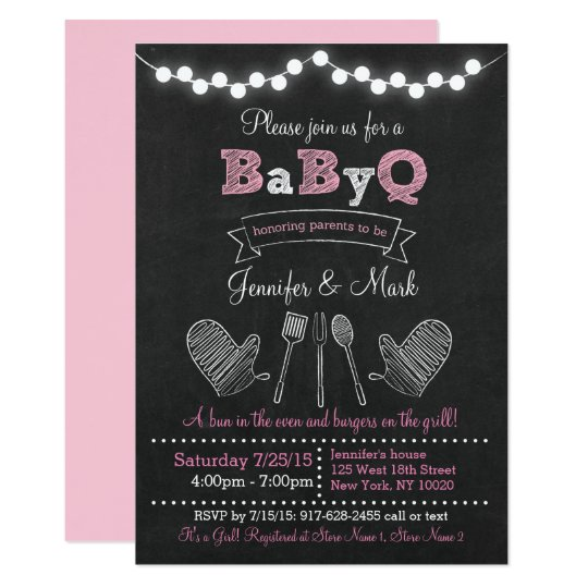 Pink BBQ Baby Shower Card