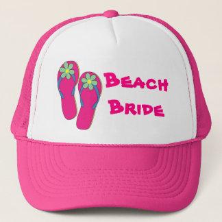 Pink Beach Bride Hat:  Flip Flop Design Trucker Hat