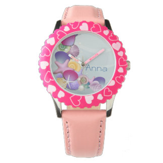 pink beach ocean seashells personalized design watches