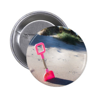 Pink Beach Spade Button Badge