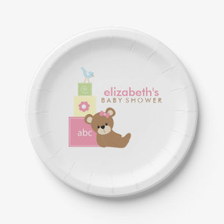 Pink Bear and Toy Blocks Baby Shower 7 Inch Paper Plate
