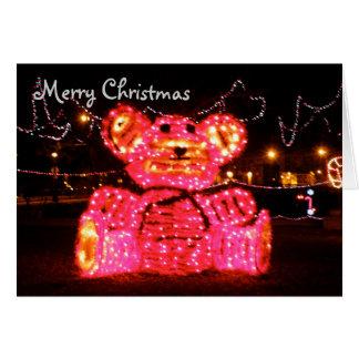 Pink Bear Christmas Greeting Card