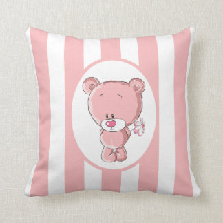 """Pink Bear Cotton Throw Pillow,16"""" x 16"""" Throw Pillow"""