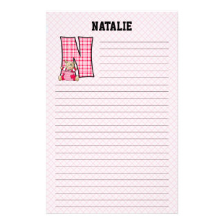 "Pink Bear Mongram ""N"" Lined Stationery"